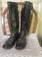 BOC Knee High Side Zip Faux Buckles BLACK LEATHER BOOTS sz 9