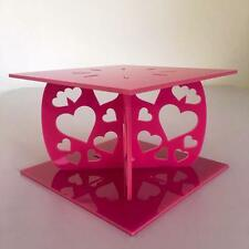 Hearts Design Square Wedding/Party Cake Separators - Pink Acrylic