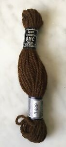 DMC Laine Tapisserie France 100% Wool Tapestry Yarn - 1 Skein Color Brown 7489