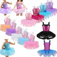 Girls Sequins Ballet Tutu Dress Kids Dance Leotard Jazz Latin Dancewear Costume