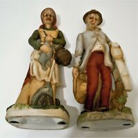 Old Man And Women Statue Figurines Doing Chores Carrying Fish And a Ladder EUC