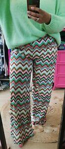 Funky Flared Wide leg Khaki/Cream zig zag print Trouser 8/10 to 16/18 Italy💜
