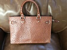 J. Peterman Ostrich Stamped Leather Purse Tote Bag