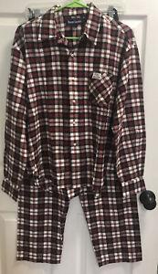 NEW Ralph Lauren Polo 100% Cotton Flannel Pajamas Set Red & Black Plaid Sz Small