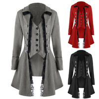 Women's Vintage Gothic High Low Coat Tailcoat Flare Coat Long Jacket Plus Size