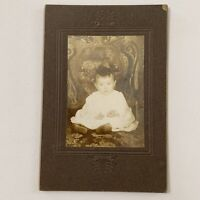 Antique Cabinet Card Photo Adorable Baby Child Ring On Finger