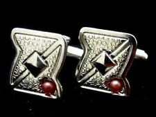 Vintage Textured Design Vintage Silver Plated Red Cabochon Cufflinks