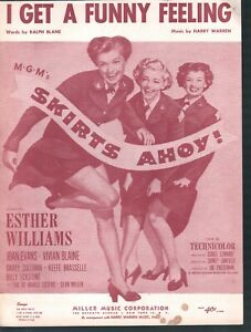 I Get A Funny Feeling 1952 Esther Williams Skirts Ahoy Sheet Music