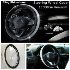 Shiny Bling PU Leather Rhinestone Steering Wheel Cover Crystal 15''/38cm For Car