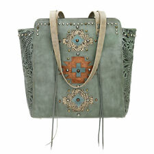 American West Navajo Soul Zip Top Tote Turquoise Leather