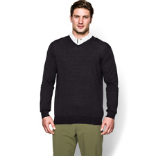 UNDER ARMOUR $140 Charcoal Grey Merino Wool V-Neck Sweater LARGE Golf Pullover