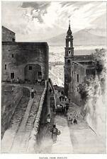 Napoli da Posillipo con Vesuvio. Costumi. Grande Veduta. Stampa Antica. 1880