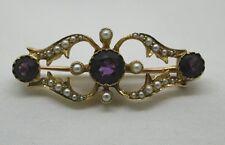 Hermoso Victoriano 15ct Oro Amatista Y Perlas Broche
