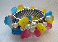 Vintage metal & early plastic stretch bangle bracelet