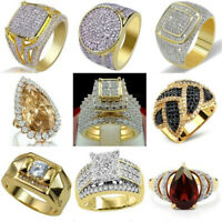 Women Vintage 18K Gold Filled White Sapphire Gemstone Ring Wedding Party Jewelry