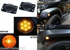 (2) Smoked LED Smoked Side Marker Fender Lights For 2007-2017 Jeep Wrangler New
