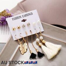Fashion Bohemian Tassel Long Fringe Boho Pearl Rhinestone Stud Earrings 6PairSet