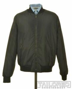 DOLCE & GABBANA Black Solid Polyester Mens Zip Bomber Jacket Coat - EU 48 / M
