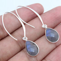 Labradorite Solid 925 Sterling Silver Drop Dangle Earrings