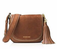 NWT Michael Kors BROOKLYN Med. Crossbody Saddle Bag Leather Color LUGGAGE $348