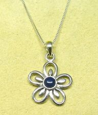 Handmade 925 Sterling Silver Flower Pendant with Real Lapis Lazui Stone & Chain