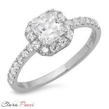 1.60 CT Engagement Ring Princess Cut Halo Solid 14k White Gold Bridal band