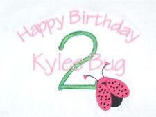 Personalized Ladybug Bug Name or Happy Birthday Girls T Shirt Gift