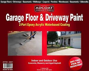 AdCoat Garage Floor & Driveway Paint - Waterbased 2-Part Epoxy ,1 g. kit, Grey