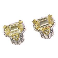 Judith Ripka Sterling Silver 18K Yellow Gold Citrine Diamond Heart Earrings