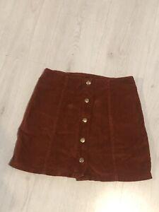 Topshop Brown Cord Button Details A Line Skirt Sz 10