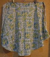 Vintage Half Apron Yellow Rick Rack Trim Green Floral Print Cotton