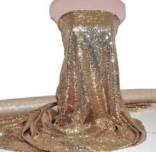 CHAMPAGNE GOLD SEWN SEQUINS ON POWER MESH 4 WAYS STRETCH  DANCE FORMAL COSTUME