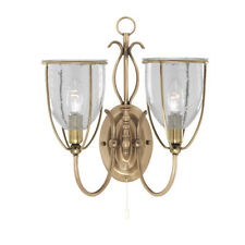 Searchlight 6352-2AB Silhouette Antique Brass 2 Light Wall Bracket Seeded Glass