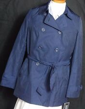 Women's International Concepts NWT Solid Blue Polyester Trench Coat Size M