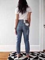 New Levis Womens 501 S Skinny Leg High Waist Denim Distressed Medium Light 24-32