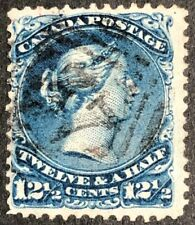 CANADA 1868 #28 QUEEN VICTORIA - LARGE QUEEN 12 1/2 cent BLUE USED FINE STAMP