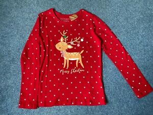 Primark Red Christmas Reindeer Organic Cotton T Shirt  Age 6-7 Years NEW