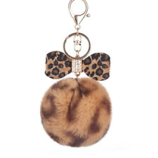 Fur Key Ring Leopard Bowknot Fur Keychain Bag Chain Rabbit Fur Ball Key Chains T