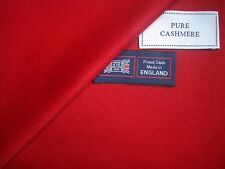 100% CASHMERE JACKETING/COATING FLANNEL FABRIC IN RED, MADE IN ENGLAND - 1.59 m.