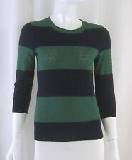 ANTHROPOLOGIE MOTH Green Navy Blue Striped 3/4 Sleeve Viscose Sweater Top Small