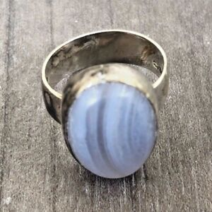 AUTHENTIC VINTAGE 70'S STERLING SILVER MODERNIST OPAQUE BLUE GLASS RING SIZE O