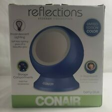 Conair Reflections Lighted Mirror w Storage Blue Plastic Ball Magnifying