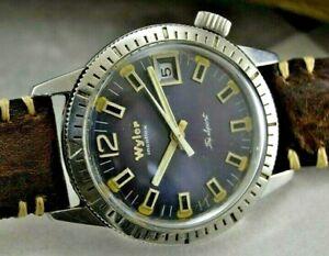 Vintage Diver Wyler Incaflex Hand Winding Tri Sport Men watch Swiss Made