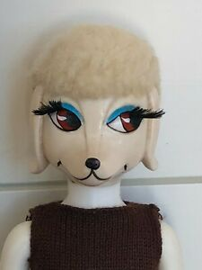 "Rare 1960's Hasbro PETEENA POODLE 9"" Doll with Knit Dress -Mod & Groovy!"