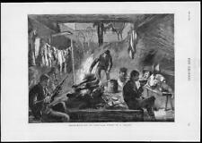 1879-antica stampa Canada Alce caccia NOTTE Shanty Snowshoes pistole (181)