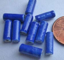 40 Vintage Japanese Handpainted Ceramic Glossy Blue Tube Beads 12mm x 4mm