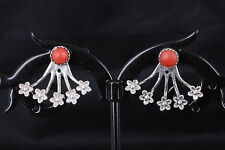 KBN STERLING SILVER FLORAL DESIGNED EARRINGS RED CORAL CABOCHON STONE  925 8061