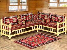 Arabo MAJLIS divano con panca in legno, Set divano ad angolo, GIARDINO DIVANO impostato/SHI _ FSWB 02