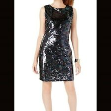 Crystal Doll Women's Blue Black Sequin Dress Small NWT
