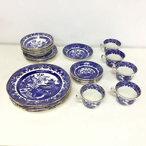 Burleigh Ware Willow Made in England Porcelain Dinner Set Incomplete #604